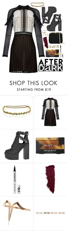 """Dark Night Out"" by la-lunar-eclipse ❤ liked on Polyvore featuring Jennifer Behr, self-portrait, Smashbox, Bare Escentuals, Ternary London, Pearls Before Swine and Loriblu"