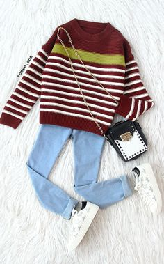Red Striped Ribbed Trim Drop Shoulder Knitwear with blue denim and star sneakers from romwe.com