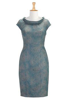 I <3 this Cowl collar micro-herringbone dress from eShakti