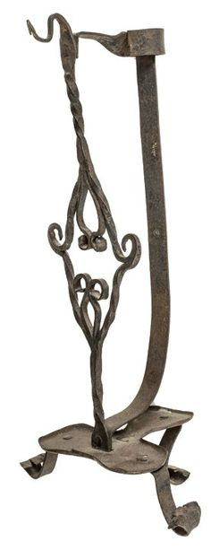 1740 Colonial Hand-Forged Iron Candle Holder. H: 15""