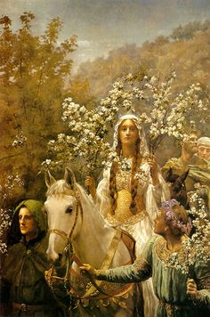 John Collier-  Queen Guinevre's Maying: For thus it chanced one morn when all the court - Green-suited, but with plumes that mocked the may...