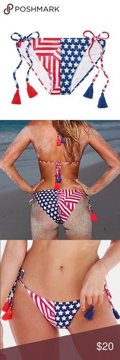 Victoria Secret-RWB bikini bottoms  MAKE AN OFFER! Cute ties with tassels Victoria's Secret Swim Bikinis