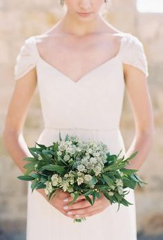 Bay Leaves and White Astrantia Greenery Wedding Bouquet Small Bridesmaid Bouquets, Small Wedding Bouquets, Elegant Bridesmaid Dresses, Small Bouquet, Wedding Flower Arrangements, Bridesmaids, Bridesmaid Ideas, Floral Arrangements, Wedding Dresses