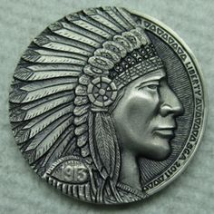 Hobo Nickel carved by Steve Adams .need link. Old Coins, Rare Coins, Steve Adams, Coin Books, Hobo Nickel, Coin Art, Memento Mori, Coin Collecting, Hand Engraving