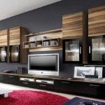 Dark Wood Wall TV Units with Bottom Cupboard and Top Shelves