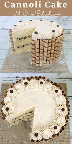 Moist and delicious homemade Cannoli Cake Recipe! Flavorful vanilla cake layers with a mascarpone chocolate chip filling and cinnamon whipped cream frosting. This impressive cake is always a crowd pleaser! Dessert Halloween, Moist Vanilla Cake, Vanilla Dream Cake Recipe, Kolaci I Torte, Gateaux Cake, Food Cakes, Frosting Recipes, Savoury Cake, Yummy Cakes