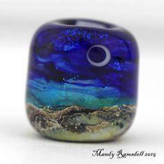 Dread bead MOONLIT SEAS bead glass dread by lionspawjewelry