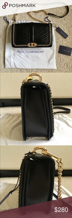 """NEW Rebecca Minkoff Love Crossbody With Chain Brand new w/ tags Rebecca Minkoff Love Crossbody with chain in black chevron leather and gold hardware. Wear it crossbody or remove the chain strap to use it as a clutch! Includes: (1) bag, (1) care card, (1) price tag, (1) dust bag, and original bag stuffing. 11""""W x 6""""H x 1.5""""D. 23"""" adjustable detachable shoulder strap drop. Genuine leather. Custom light gold hardware. Flap closure with turn lock. One exterior slip pocket. Exclusive print…"""