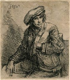 Pupil of Rembrandt, Young Man Seated, with a Game Bag, 75 x 67 mm. The Morgan Library & Museum