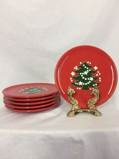 6 Waechtersbach Christmas Tree Lunch Dessert Plates West Germany | eBay & 5 Waechtersbach Christmas Tree10 Inch Dinner Plates West Germany ...