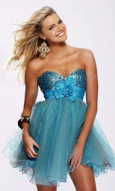 blue dress babydoll dress PromGirl