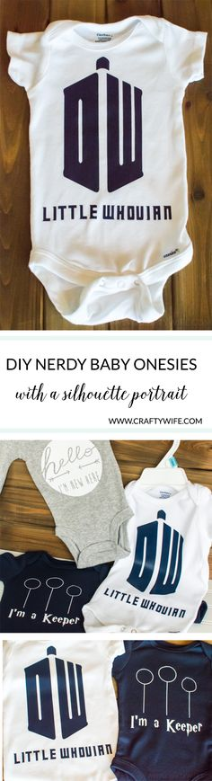 Make an easy baby shower gift for the nerdy mom-to-be with a silhouette portrait machine! These nerdy baby onesies are perfect for the ultimate Whovian or Potterhead. Nerdy Baby Clothes, Baby Nerd, Geek Baby, Siser Easyweed, Diy Decorating, Silhouette Portrait, Baby Gifts, Baby Shower Gifts, Baby Bumps