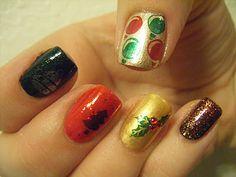 No Nekkid Nails - Christmas Stamp Mani