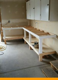 Install the bench top plywood diy workbench, garage workbench plans, woodworking bench, garage Garage Workbench Plans, Workbench Designs, Diy Workbench, Garage Tools, Garage Shop, Garage Workshop, Woodworking Bench, Workshop Bench, Folding Workbench