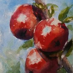 """Red Apples"" original watercolor by Julie Hill (6"" x 6"")"