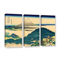 Found it at AllModern - The Coast of Seven Leages in Kamajura by Katsushika Hokusai 3 Piece Graphic Art on Wrapped Canvas Set