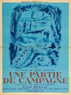 """film poster, """"A Day in the Country"""" ; by Jean Renoir French language) Jean Renoir, Pierre Auguste Renoir, Cinema Posters, Band Posters, Movie Posters, Baba Yaga, Stanley Kubrick, Alfred Hitchcock, Martin Scorsese"""