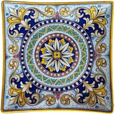 Elegant Hand Painted Curved Plates - Ricco Vario Style - 4 inches high at crests, inches x inches x x Glazes For Pottery, Ceramic Pottery, Elefante Hindu, Chinese Prints, Italian Tiles, Art Populaire, Italian Pottery, Blue Pottery, Mandala Painting