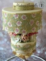 Madame Butterfly Sugar Dress Cake Lace Mat By Claire Bowman