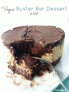 Vegan Buster Bar Dessert If you are craving something rich and decadent this is perfect for you! This is an indulgent, creamy dessert. It is the perfect fix for a Buster Bar Craving!