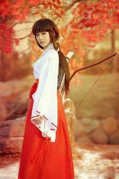 Miko with Yumi--Kyudo (Japanese archery).