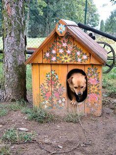 :) painted dog house.