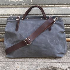Harry charcoal waxed bag with detachable leather by sidneyandsons