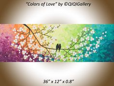 Original acrylic painting canvas painting impasto palette knife wall décor office wall art White Flower Bird decorative art wedding gift by QiQiGallery on Etsy