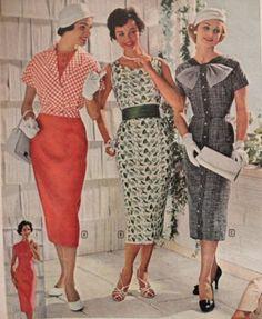 1950s sheath dresses also called wiggle dresses or pencil dresses today. VintageDancer.com