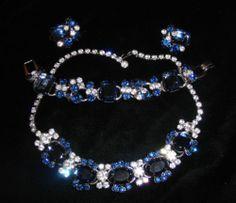 Vintage JULIANA Costume Jewelry Blue Rhinestone Bracelet Necklace Earrings Set