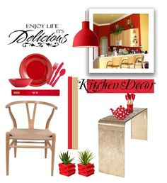 """""""Kitchen Decor """"Red & Gold!"""""""" by eso-so ❤ liked on Polyvore featuring interior, interiors, interior design, home, home decor, interior decorating, Pier 1 Imports, Supreme, Le Creuset and London Pottery"""