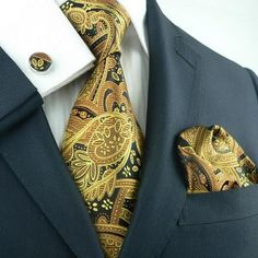 """3PC Silk Necktie Set Color : Brown,Black and Gold Paisley 59"""" Length, 3.25"""" Width"""