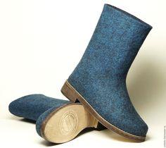 """Купить Валяные сапожки """"Джинсовые"""" - валяная обувь, обувь ручной работы, обувь для улицы"""