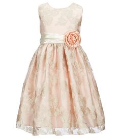 fa9a527719ff Jayne Copeland Little Girls 2T-6X Floral-Embroidered Metallic Dress