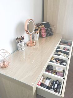 My makeup storage: Featuring the Ikea Malm dressing table - BeingChloe. How I organise my makeup collection. The ikea malm dresser makeup storage and organisation. The ikea malm drawer organiser with billigen drawer inserts. Decor Room, Bedroom Decor, Home Decor, Bedroom Ideas, Bedroom Designs, Bed Designs, Ikea Room Ideas, Bedroom Themes, Beauty Room Decor