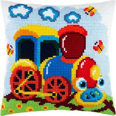 Паровоз Z-42 Cross Stitch Cushion, Cross Stitch Baby, Cross Stitch Animals, Cross Stitch Charts, Cross Stitch Designs, Cross Stitch Patterns, Hobbies And Crafts, Diy And Crafts, Crochet Cushions