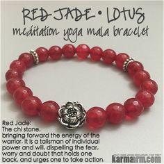 LIFE FORCE: Red Jade • Lotus Flower Yoga Mala Bead Bracelet