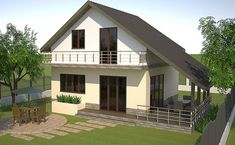 These houses with attic over 100 square meters come in various appealing designs, with plenty of interior space also available. Square Meter, Facade House, Design Case, Attic, Future House, Tiny House, House Plans, Exterior, House Design