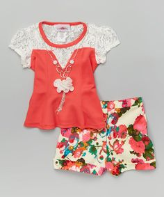 Look at this Coral & Lace Tee & Floral Shorts - Toddler & Girls on #zulily today!
