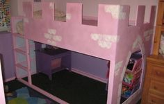 A castle bed that James made for Melanie out of an Ikea bed.