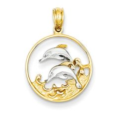 14K & Rhodium Double Dolphins in Circle Pendant