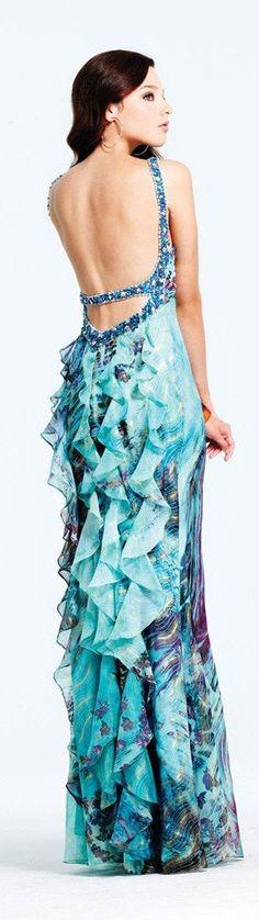 Faviana Beaded Chiffon Prom Dress with Ruffle Back