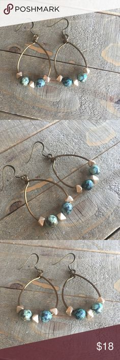 Africa Turquoise copper earrings for women. I designed and made these earrings with genuine Africa Turquoise, natural brass colored non-tarnish copper wire and gold geometric beads. Always made by me with love, light and positive energy! #earrings #turquoise #jewelry