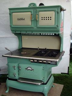 Vintage Combo by GLENWOOD <>  Wood / Gas Stove  <> Wood Firebox and Oven Below <> Gas Oven and Broiler on Top. 4 Gas Burners on Right Side. circa 1880-1930