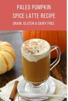 Paleo Pumpkin Spice Latte is a delicious and grain-free, gluten-free, dairy-free and vegan! Paleo Pumpkin Recipes, Pumpkin Spiced Latte Recipe, Pumpkin Spice Latte, Dairy Free Recipes, Gluten Free, Paleo Recipes, Vegan Pumpkin, Drink Recipes, Delicious Recipes