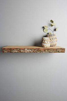 Live-Edge Wood Floating Shelf