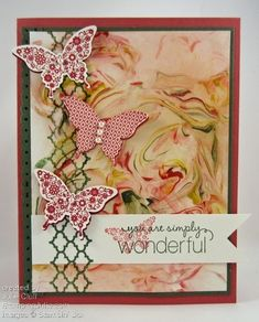 Butterfly Card using a shaving cream background