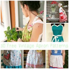Free Vintage Apron Patterns... These are amazing,and will be fun to sew.Aprons make great presents too!!