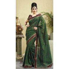 Green chanderi silk saree.