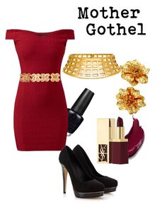 """""""Mother Gothel"""" by disneyandsuch ❤ liked on Polyvore featuring OPI, Kenneth Jay Lane, Lipsy, Chanel, Yves Saint Laurent and WhereIsMySuperSuit"""